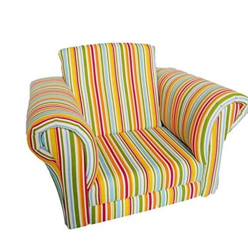 Kinder Kinder Gepolsterte Sessel Stoff Massivholz Stuhl Mädchen Schlafzimmer Einzelne Faule Sofa Rosa Streifen (Color : Green, Size : 24 * 20.4 * 12.5IN) (Kleinkind Mädchen Schlafzimmer-sets)