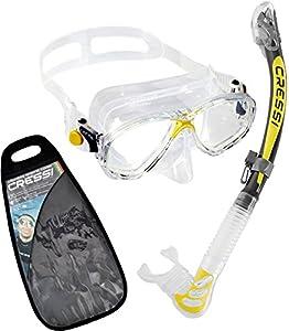 Cressi Premium Ultra Dry Masque Tuba Adulte Plongée Snorkeling - Kits de Randonnée Aquatique Clear/Jaune