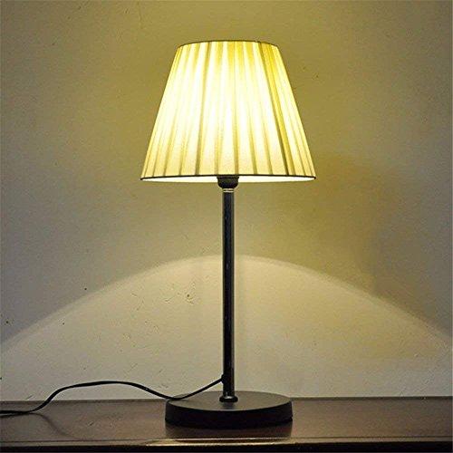 DHG Tischlampe-Creative Dimming Tuch Schreibtischlampe Warme Schlafzimmer Studie Nacht Auge Schutz LED Lesen und Schreiben Schreibtischlampe,Silver-Ler-Tastenschalter