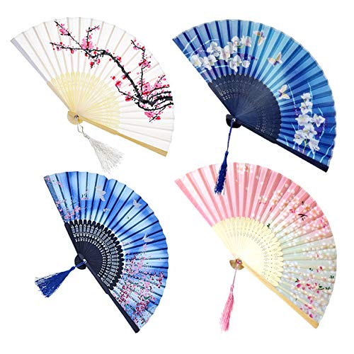 169e0ac00 4 Pack Folding Fans, Handheld Bamboo Silk Fabric Folding Hand Fans with  Tassel Wooden Chinese/Japanese Hand Fans Folding Hand Held Fans for Women  Wedding ...