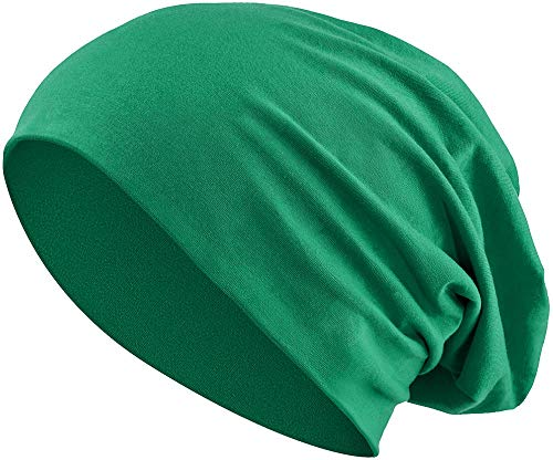 Jersey Baumwolle elastisches Long Slouch Beanie Unisex Mütze Heather in 35 (3) (Dark Green) - Heather Dark Green