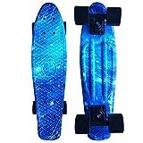 CY Mini Cruiser Shortboard Graphic Skateboards 22 Zoll(56cm) Kunststoff-Board im Retro-Stil Fertig Montiert Galaxis