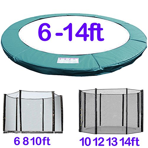 Greenbay Trampoline Replacement Spring Cover Padding Pad & Safety Net Enclosure Surround Bundle 12FT Green
