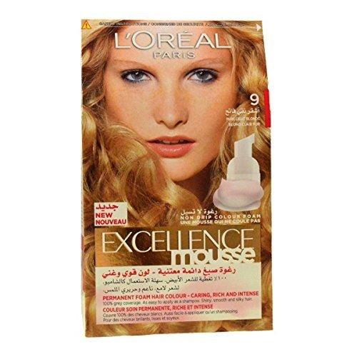 3-x-l-oreal-excellence-mousse-permanente-de-espuma-9-pure-luz-rubio-color-de-pelo