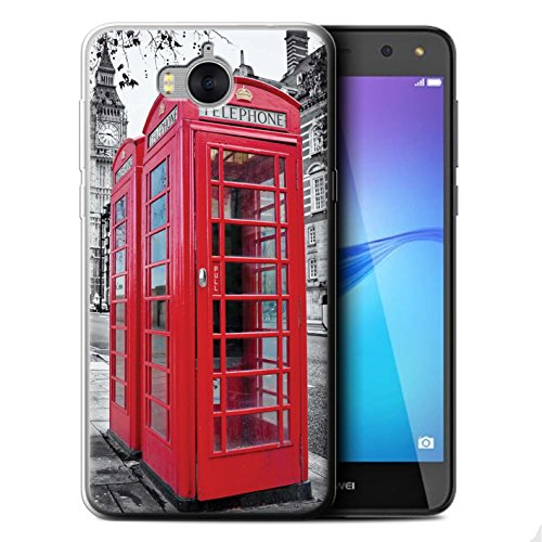 Stuff4® Gel TPU Hülle/Case für Huawei Y6 2017 / Red Phone Box Muster/London England Kollektion -