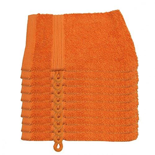 Julie Julsen Set 10guanti da bagno 15x 21cm disponibile in 17colori morbida e assorbente, 500GSM Öko Tex, Cotone, arancione, 15 cm x 21 cm