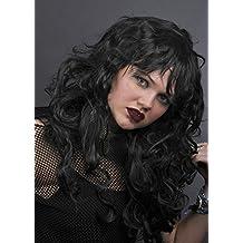 Peluca larga ondulado negro gótico damas