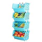 Obst Korb Rack Lommer 4Pcs Single-Deck Kunststoff Obst Gemüse Aufbewahrungsbox Mehrzweck-Küche Verschiedene Waren Lagerung Korb Regal - Blau