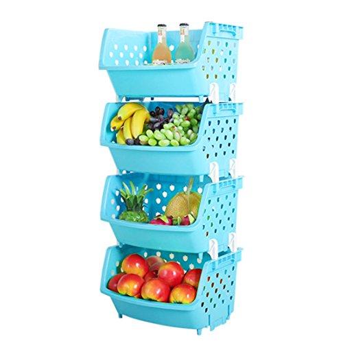 OviTop Étagère à Fruits et Légumes, 4 Panier a Fruit et Légume, Bacs à Légumes, Cellier pour Ranger Pommes de Terre, Oignons, et Autres Fruits et Légumes