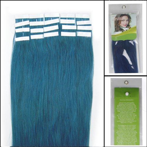 45,7 cm Bandes adhésives Extensions de cheveux humains droite Couleur Bleu 40 g 20 pièces Beauté Cheveux Style