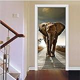 YINGER Tür Wandaufkleber DIY Elefant Selbstklebend Schälen & Stick Türmalereien 38,5 x 200 cm * 2 , Bild farbe