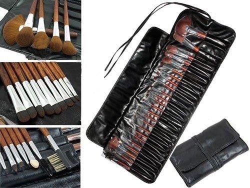 21 tlg PROFI ECHTHAAR Make-up Pinsel Set im Etui LEDER