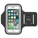 MoKo iPhone 7 Armband - Sweatproof Joggen Laufen Sport Armband Handy Hülle Schutzhülle + Schlüsselhalter Kopfhörer Anschluss für Apple iPhone 7, iPhone 6s / 6 Armband, Schwarz