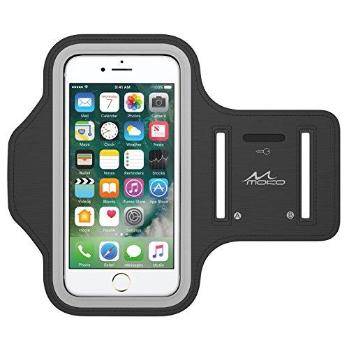 MoKo Bracciale Sportivo per iPhone 7, iPhone 6s / 6 - Fascia da Braccio per Corsa e Palestra, con Slot portachiavi, Resistente a sudore, Nero