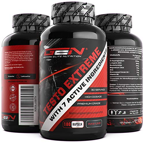 Testo Extreme - 180 Kapseln - Testosterone Komplex Booster - Hochdosiert mit D-Asparaginsäure + L-Arginin + Bockshornklee + Zink + Magnesium + Vitamin B6 - Beliebt bei Bodybuildern & aktiven Männern