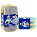 MR. SIGA Dual Action Scrubbing Sponge, Pack of 6, Size:17x10x2.3cm by MR. SIGA