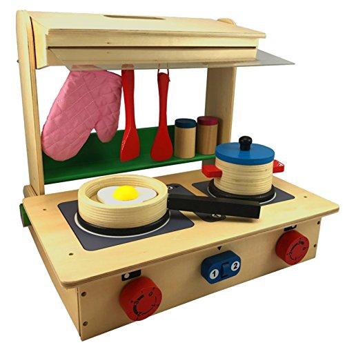 TikTakToo Kinder-Küche Profi im Koffer aus Holz, mit Herd, Pfanne, Topf, Küchenhelfern und Streuern, ab 3 Jahren