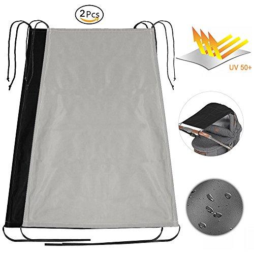 Fun Sponsor Universal Sonnensegel für Kinderwagen, Baby Kinderwagen Sonnenschutz Sonnensegel Schatten Tuch mit UV 50+ Schutz 2 Stück(Schwarz + Grau)