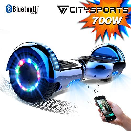 CITYSPORTS Hoverboard 6.5 Pulgadas Hover Board Bluetooth, Patinete Eléctrico Self-Balance Board 700W Motor con Ruedas de Flash LED, Monopatín Eléctrico para Niño y Adulto