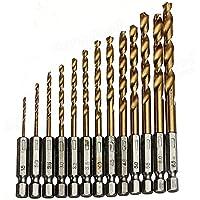 Misika 13 piezas Brocas helicoidales,HSS Taladro de titanio Brocas de taladro Micro Brocas HSS Taladro de acero de alta velocidad 1.5 – 6.5 mm Set Micro Drill Set Tools