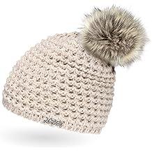55eb96247173ad Neverless Damen Strickmütze mit Fell-Bommel und Fleece gefüttert,  Kunstfell, Winter-Mütze