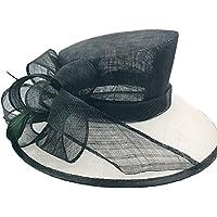 Peng sounded Moda Sombrero de Visera de Playa de Verano Sombrero de Bola de Banquete Sombrero de Lino Blanco y Negro sólido.