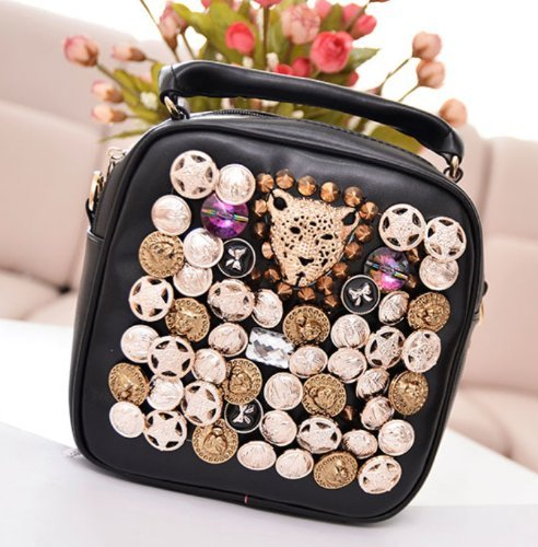 Andonger Fashion Girls Bag zaino esterno singolo sacchetto di spalla con tracolla staccabile Locomotiva Chestpack borsa personalitš€ con Leopard Head & Amp; Rivetti & Amp; Diamonds & Amp; Medaglia Decoration