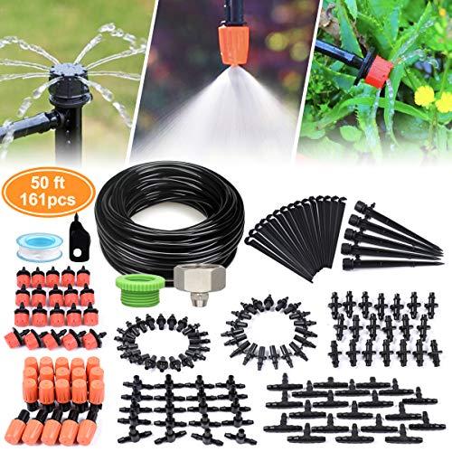 Micro Drip Gartenbewässerungssystem, Tröpfchenbewässerung Kit, Automatisches Bewaesserungssystem Sprinklersystem für Landschaft, Flower Bed, Terrasse Pflanzen, Gewächshaus