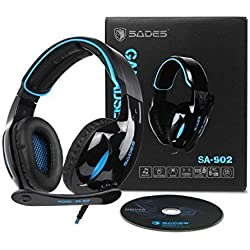 SADES SA902 USB Gaming Headset 7.1 Surround virtuel Stéréo Sonore Sur Oreille Over Ear casque Gaming USB filaire avec contrôle du volume micro pour PC / ordinateur portable (noir et bleu)