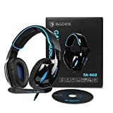 Brand New SADES SA902 Gaming Headset 7.1 Virtual surround Stereo Sound Over Ear Gaming Headphones Wired USB LED Light With Mic Volume Control For PC/ Laptop (Black&Blue)