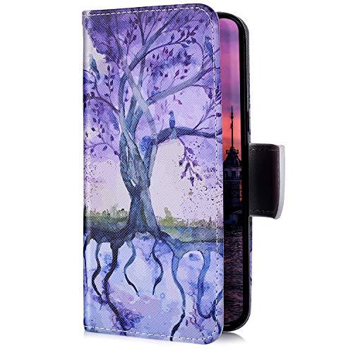 Uposao Kompatibel mit Samsung Galaxy S10e Handyhülle Handy Tasche Schutzhülle Bunt Muster Lederhülle Flip Case Cover Brieftasche Leder Tasche Klapphülle Kartenfächer,Baum Blumen