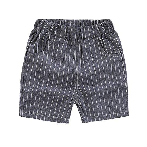 Wongfon Sommer Jungen gestreift Baumwolle Casual Shorts Gentleman Style