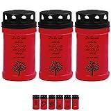 3 Tage-Brenner Rot - Schwarz Grablicht Grabkerze Gedenkkerze Auswahl: Baum 4x 3er Pack