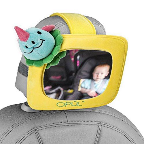Preisvergleich Produktbild Rücksitzspiegel für Babys, verstellbarer Rücksitzspiegel für Babys, Gelbes Plüschgehäuse, Befestigungsvarianten für die meisten Fahrzeuge - Rücksitzspiegel von Opul