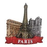 Weekinglo Souvenir Torre Eiffel Museo del Louvre París Francia Imán de Nevera Resina 3D Artesanía Hecha A Mano Turista Viaje Ciudad Recuerdo Colección Carta Refrigerador Etiqueta