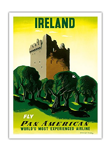 Irland - Irisches Schloss - Pan American Airlines (PAA) - Vintage Retro Fluggesellschaft Reise Plakat Poster von Edward McKnight Kauffer c.1953 - Premium 290gsm Giclée Kunstdruck - 30.5cm x 41cm American Pan