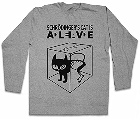 SCHRÖDINGER´S CAT IS ALIVE DEAD I T-SHIRT à MANCHES LONGUES - The Big Schroedinger chat TV Bang Theory Geek Nerd Tailles S - 5XL