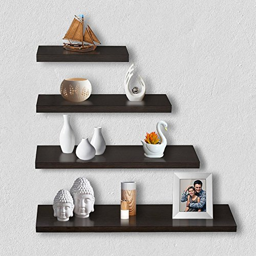 A10 Shop Wood Delta S1 Home Decor Wall Shelf/Rack, Matt Finish (Wenge, 32-WS-WEN) - Set of 4