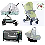 Pram Net, Universal Mosquito Fly Bug Insect Net Protection Cover for Pushchair Car seat Baby pram Buggy carrycot Bed Stroller Bassinet Basket Jogger and Travel cot - by maxgogoeu