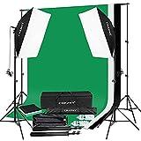 CRAPHY Fotografia Studio Softbox Set Luci Kit Illuminazione 2x125W Lampadine, Supporto di Sfondo 3Mx2M con Sfondo (Nero, Bianco, Verde) di Cotone 1.8Mx2.8M, Borsa da Trasporto