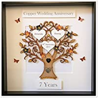 Personalised 7 Years Copper & Black Wedding Anniversary Family Tree 3D Box Frame Keepsake Wedding Gift Home Christmas Birthday Mothers Day Mum Love