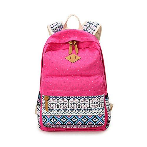 moda vintage ragazza donna dello zaino tela geometria puntino sacchetto scuola università sacchetto viaggio-Rosa rossa