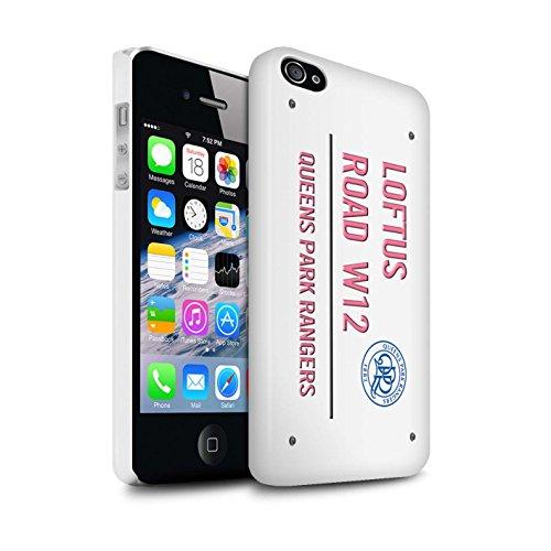 Offiziell Queens Park Rangers FC Hülle / Glanz Snap-On Case für Apple iPhone 4/4S / Pack 8pcs Muster / QPR Loftus Road Zeichen Kollektion Weiß/Rosa