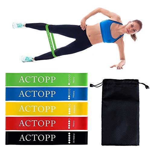 ACTOPP Fitnessbänder Widerstandsbänder 5er-Set Loop Bänder Set mit Tragebeutel Gymnastikband Trainingsband Mini Loop Band Übungsbänder Muskelaufbau Physiotherapie Yoga Pilates Reha-Sport Physio