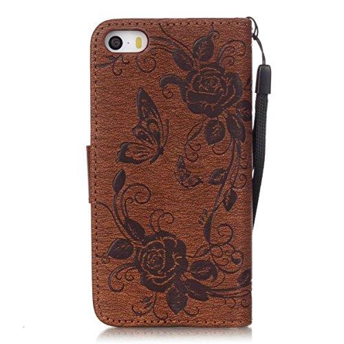 Premium PU-Leder Tasche Cover mit Resine Rhinestone und hängenden Seil Folio Stand Case Embossing Schmetterling Blumen Brieftasche Fall für iPhone 5S SE ( Color : Black , Size : IPhone 5S SE ) Brown