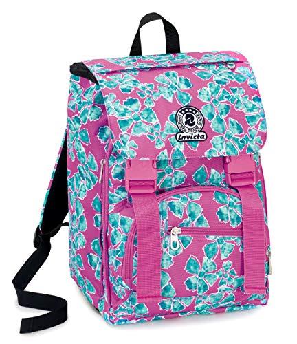 Zaino square invicta pansy, 28 lt, rosa, estensibile, scuola elementare e medie