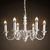 MSAJ-Iluminación jardín simple continental retro barbero Club penthouse vestíbulo creativo forjado vela lámpara diámetro: 550mm , white