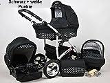 Kinderwagen Largo, 3 in 1- Set Wanne Buggy Babyschale Autositz (schwarz + waise punkte)