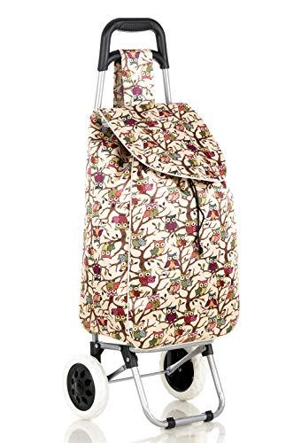 2Rad starker Einkaufstrolley Festival Essential Klappbarer Langlebig Rädern Tasche Beige/Eulen