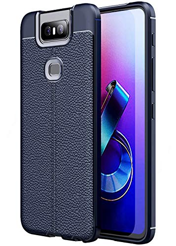 Golden Sand Slim Drop Tested Leather Texture Shockproof Armor TPU for Asus Zenfone 6Z Back Cover (Asus 6Z Case/Zenfone 6Z Phone Back Cover), Blue